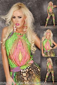 c272816f711c1e Das Bild wird geladen Sexy-Sommer-Multicolor-Overall-Einteiler-Jumpsuit- Catsuit-Hosenanzug-
