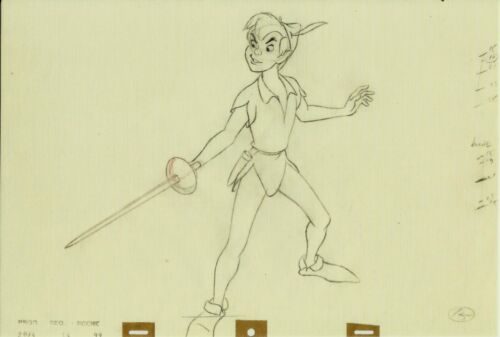 PETER PAN CLEANUP ANIMATION DRAWING BY ERIC LARSON NICE POSTCARD