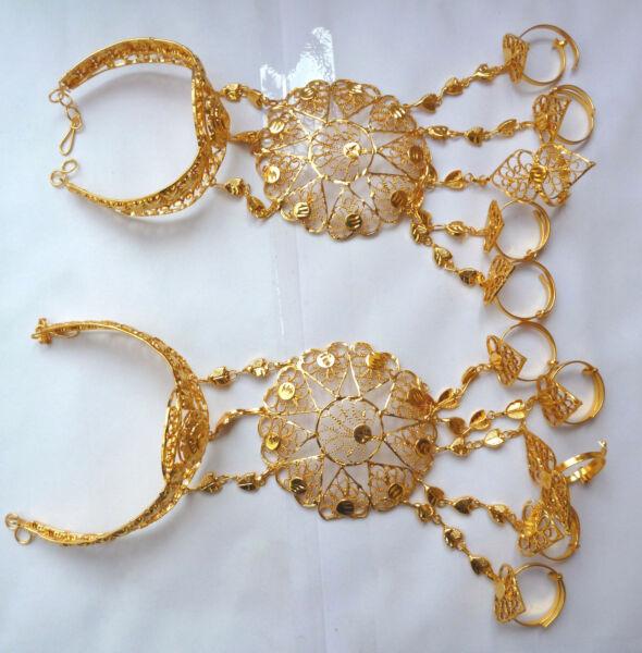 22k Gold Plated Indische Hochzeit 5 Ringe Armband Haat Panja Set 1 Pair A