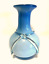 Blue-Ombre-Vase-Clear-Applied-Art-Glass-Ribbon-White-Inside-11-5-inches-Tall thumbnail 1