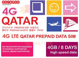 Details about QATAR DATA SIM UNLIMITED DATA 4G LTE 4GB 8 DAYS PREPAID SIM  BY OOREDOO AIS