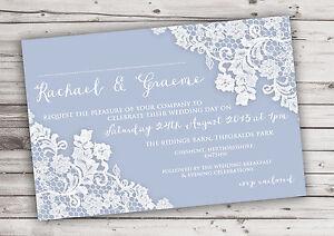 PERSONALISED-RUSTIC-DUSKY-BLUE-LACE-WEDDING-INVITATIONS-PACKS-OF-10