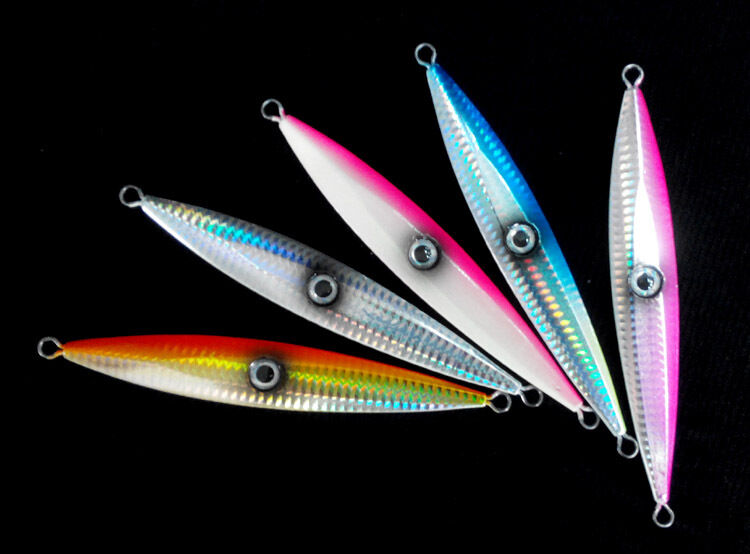 SALTWATER SLOW JIGS WITH 3D EYE - FISHING METAL LURES 40 60 80 120 150 200 Gr