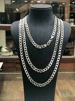 Solid 925 Sterling Silver Mens Chain Bracelet Flat Curb Italian Style Heavy NEW