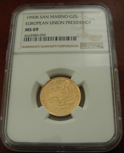 San-Marino-1990-R-or-2-Scudi-NGC-MS69-Europeenne-Union-Presidence