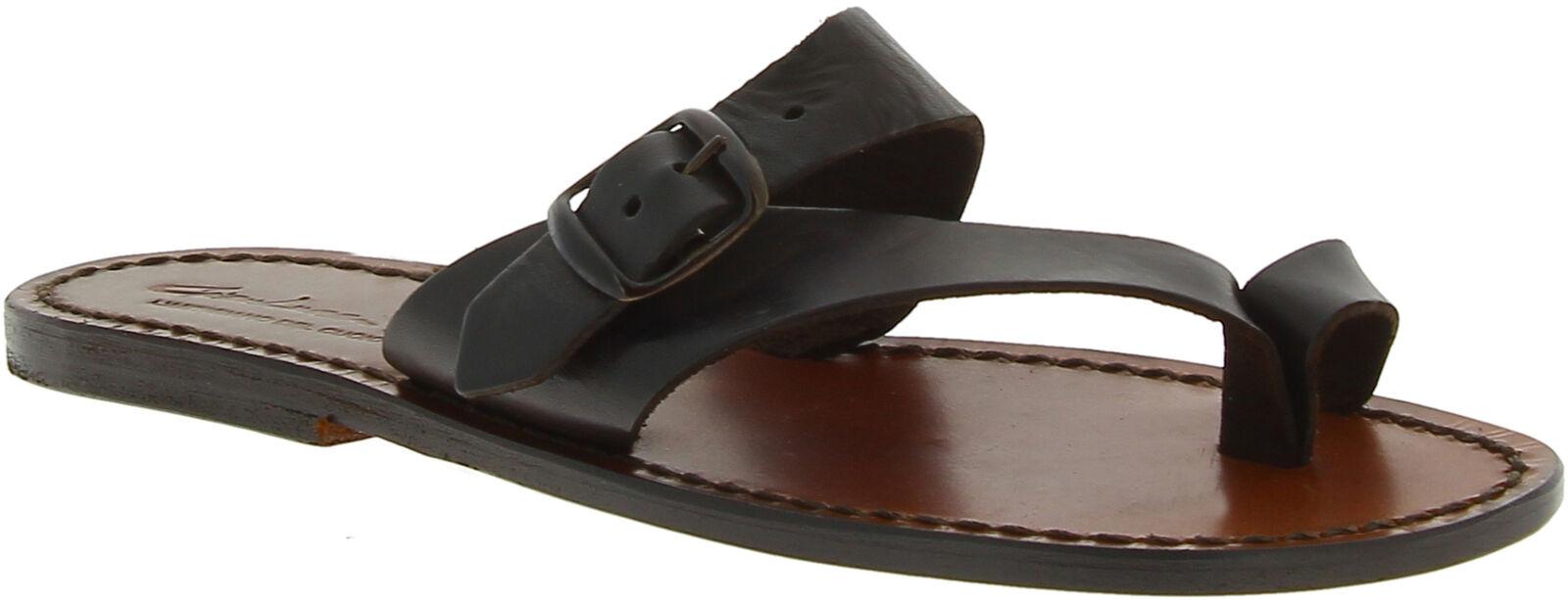 Hecho Cuero De A Oscuro Zapatillas Para Marrón Sandalias Mujer Mano TXPOikZu