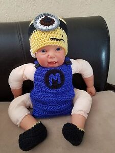 62dd23ad5367 Image is loading Crochet-Newborn-Baby-Minions-Photography-Props-Knitted-Baby -