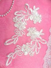 """BL3 Antique White Floral Venise Lace Mirror Pair Pearl Sequin Appliques 7"""""""