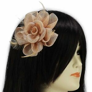 Image is loading Nude-Ladies-Fascinators-Mesh-Feathers-Clip-Wedding-Prom- 3f9dff8b3a7