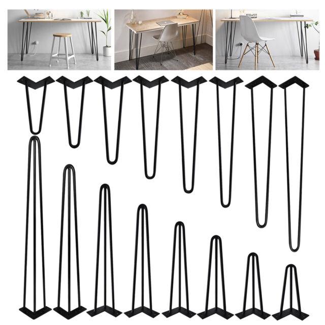 "Set of 4 Steel Industrial Design Look Stable WW 24/"" 3Rods Hairpin Table Legs"