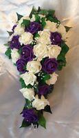Wedding Flowers Ivory Purple Rose Bride Shower Teardrop Bouquet Artificial