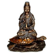 KWAN YIN ON TURTLE STATUE Buddhist Goddess HIGH QUALITY Bronze Sea Tortoise Quan
