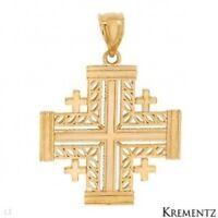 Brand Krementz Cross Pendant In 14k Yellow Gold