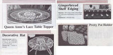 4 Crochet Patterns - Queen Anne's Lace Table Topper - Hat - Gingerbread Edging