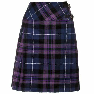 "Ladies Knee Length Pride Of Scotland Kilt Skirt 20"" Length Tartan Pleated"