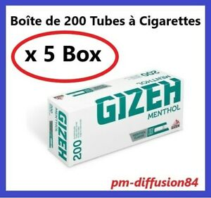 1000-TUBES-Cigarettes-avec-Filtres-GIZEH-Menthol-5-x-200-Tubes-FIN-DE-STOCK
