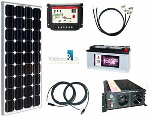 130 watt camping solaranlage 12 volt set mit. Black Bedroom Furniture Sets. Home Design Ideas