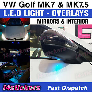 VW-Golf-MK7-MK7-5-decals-stickers-LED-Blue-Light-overlays-mirror-amp-interior