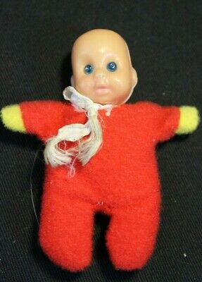 """Vintage - Tiny Bean Bag Baby Doll in Red Pajamas - 3"""" tall ..."""