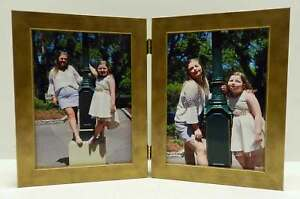 8x10-Antique-Gold-Double-Hinged-Vertical-Wood-Photo-Picture-Frame-New
