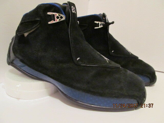 RARE & COLLECTIBLE  SUEDE NIKE AIR JORDAN 18 (XVIII) BLK SPT ROYAL W  OG ALL