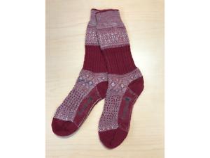 Smartwool Women's Garter Stitch Texture Crew Socks Tibetan Red Size M (7-9.5)