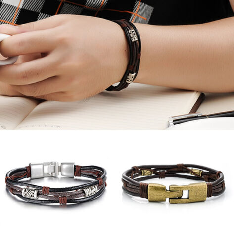 Men/'s Bracelet Braided Genuine Leather Stainless Steel Cuff Bangle Wristband