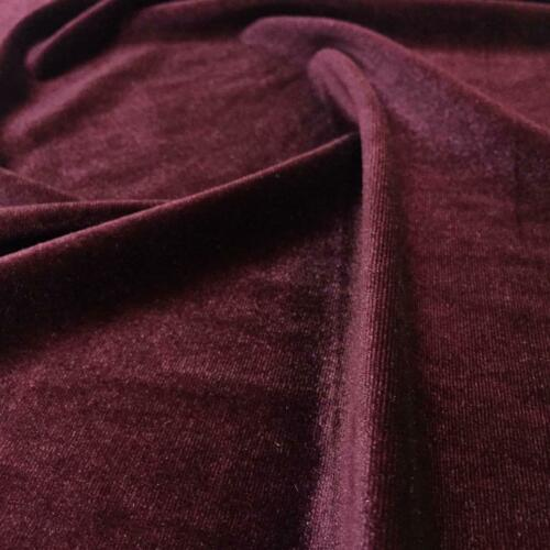 Velvet Fabric  Red Wine Solid Color  Full Stretch By Yard