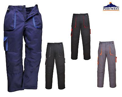 Portwest Texo Contrast Trousers Work Protective Pants Elastic Waist Kneepad TX11
