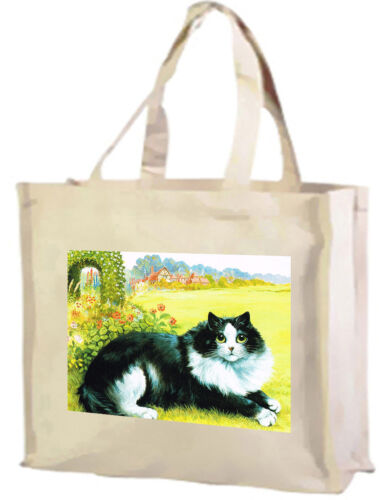 With Gusset Choice of Cols. Louis Wain Black and White Cat Cotton Shopping Bag