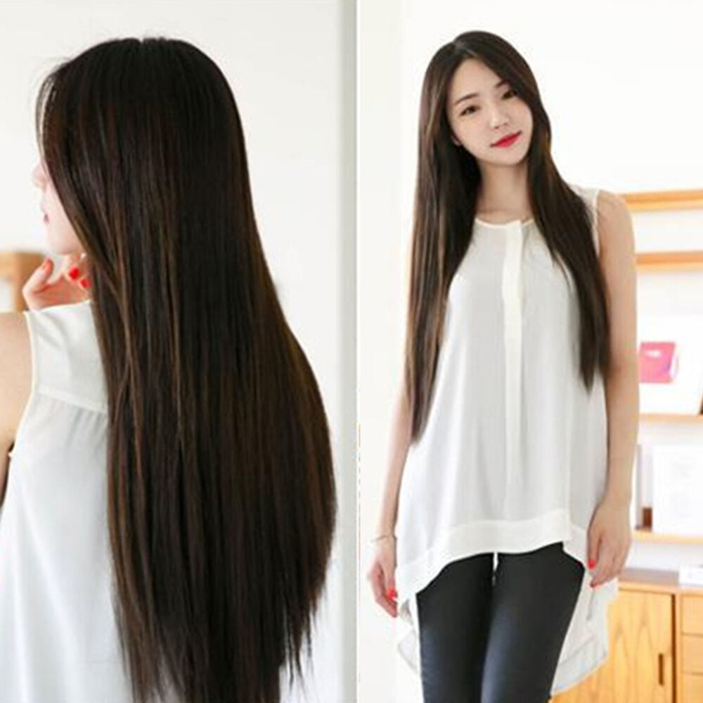 Women's Long Straight Midsplit Full Hair Wig Party Night Club Hairpiece Natural Hair Care & Styling