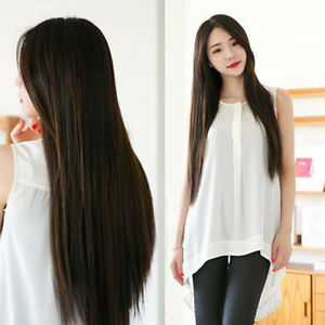 Women-039-s-Long-Straight-Midsplit-Full-Hair-Wig-Party-Night-Club-Hairpiece-Natural