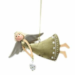 Distressed Gold Metal Angel Hanger Hanging Christmas Tree Decoration ~ Heart
