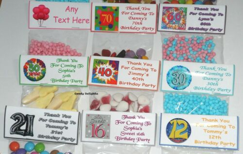 40 Personalised Sweet Bag WRAPPERS Birthday 50th 60th 65th 70st 80th 90th ANYAGE