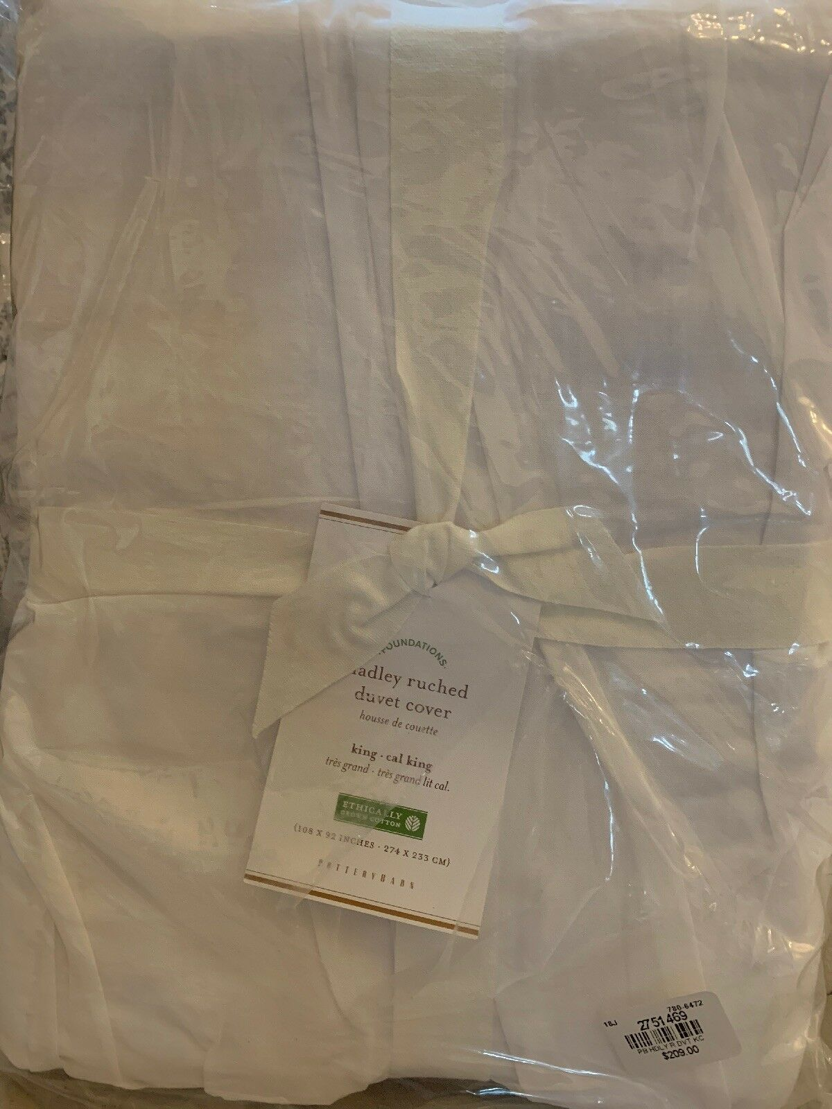 Pottery Barn HADLEY RUCHED King Cal. King WeißChristmas