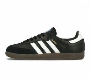 bdde1b161aa Details about Original Mens Adidas Samba OG Leather Trainers Black White