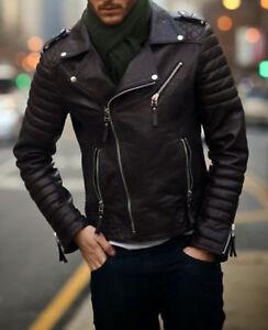 Mens Cool Quilted Biker Black Real Moto Leather Jacket