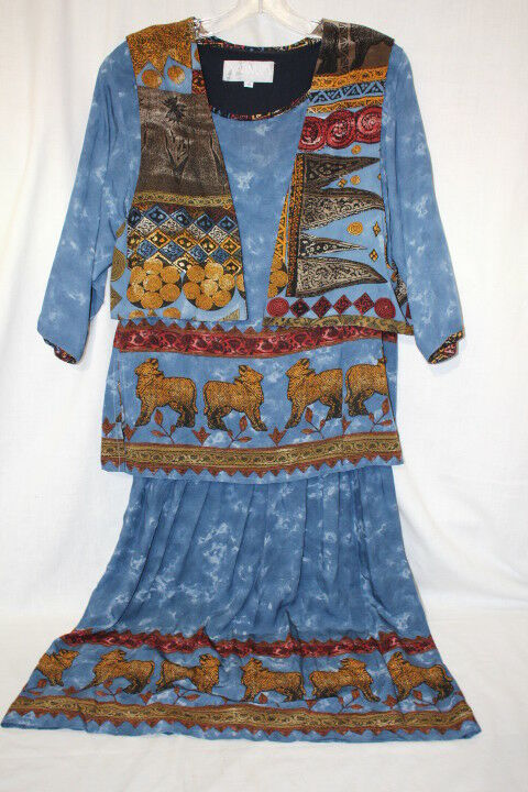 Vtg PLATINUM By DgoldTHY SCHOELEN Multi-color  Animal & Sky  Dress & Vest, S-B121