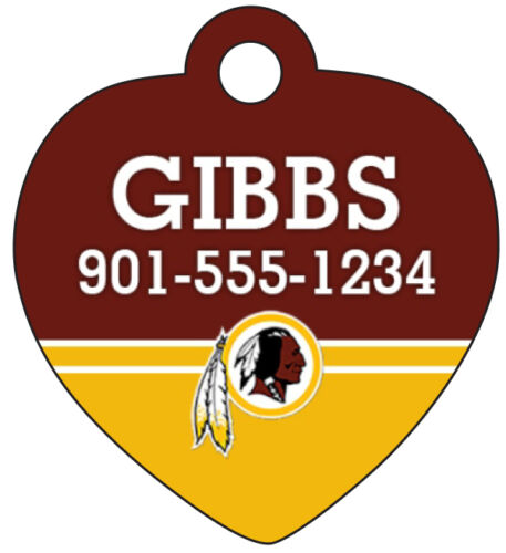 Washington Redskins Pet Id Tag for Dogs /& Cats Personalized w// Name /& Number