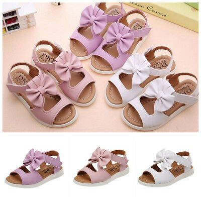 Girls Summer Kids Children Sandals Fashion Bowknot  Soft Flat Pricness Shoes
