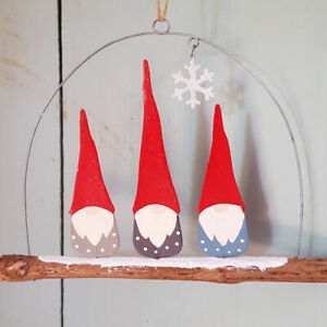 Christmas Gnomes.Details About Shoeless Joe Trio Of Nordic Tomte Nisse Christmas Gnomes Hanging Ornament