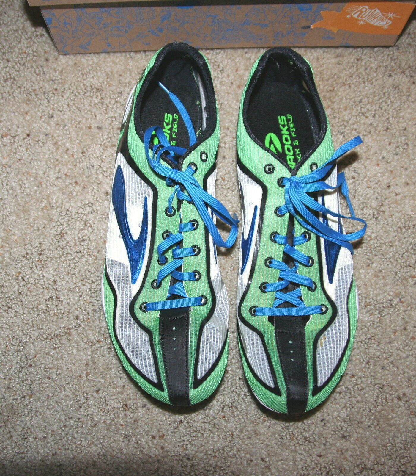 check out 4758b cdfec ... NEW  100  100  100 Brooks WIRE 2 Running TRACK SPRINT Shoe SPIKES blue  GREEN 10.5 ...