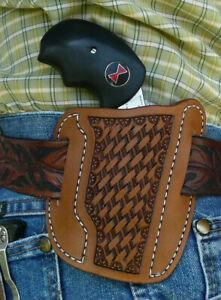Leather-Holster-NAA-Black-Widow-2-034-North-American-Arms-Ruff-039-s-Basket-Weave-Brown