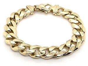 "Men's 14k Yellow Gold Solid Miami Cuban Link Chain Bracelet 8"" 12.5mm 84 grams"
