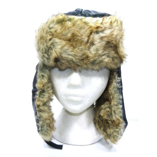 MENS LINED WATER PROOF RUSSIAN TRAPPER WINTER HAT WARM FAUX FUR SKI MOTOR BLACK