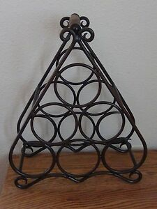Triangle Style Wine Rack With Wooden Handle Aged Copper Ebay
