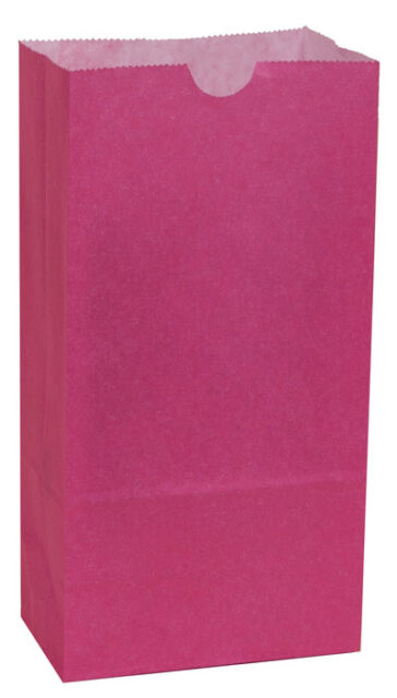 Colored Paper bags WILD ROSE (PINK) AS LOW AS 25¢ ea BIRTHDAY Lunch TREAT Favor