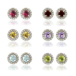 925 Silver Gemstone & Diamond Halo Stud Earrings 5 Colors