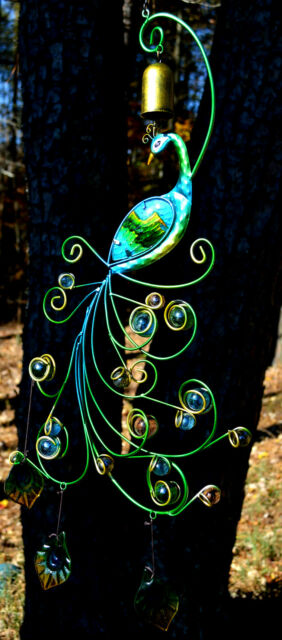 Metal and Glass Peacock Yard Ornament-Teal