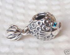 AUTHENTIC Pandora SPLISH-SPLASH Silver/Turquoise/Aqua FISH Charm~Bead 791108TPP